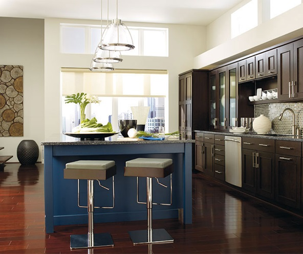 dark_wood_cabinets_blue_kitchen_island
