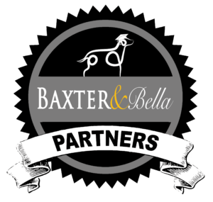 Drawing of dog over BAXTER & Bella logo