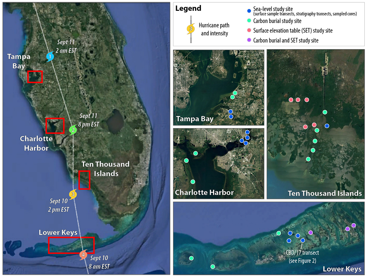 Map showing the location of field sites in proximity to the path of Hurricane Irma