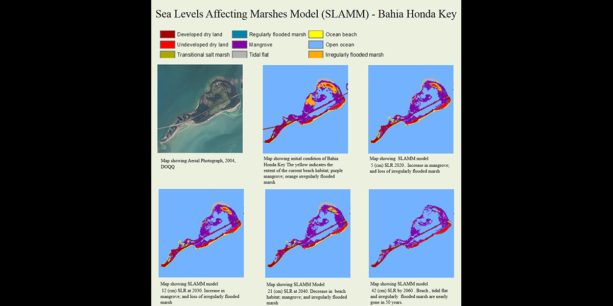 Map showing Sea Levels Affecting Marshes Model (SLAMM) of Bahia Honda Key
