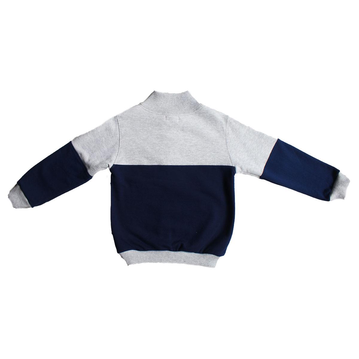 Cross Neck PullOver_Gray&Blue Back