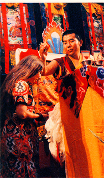 His Eminence Jamgon Kontrol Rinpoche blesses Prema at the Kalachakra