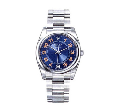 Rolex Air King Oyster Perpetual Wristwatch with Blue Domed Bezel and Orange Arabic Numerals