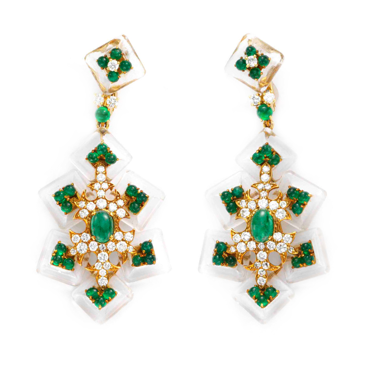 A Pair of Emerald, Rock Crystal and Diamond Ear Pendants, by Cartier