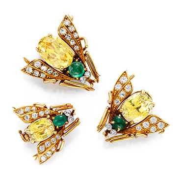 A Set of Yellow Sapphire and Emerald Bee Brooches, by Van Cleef & Arpels
