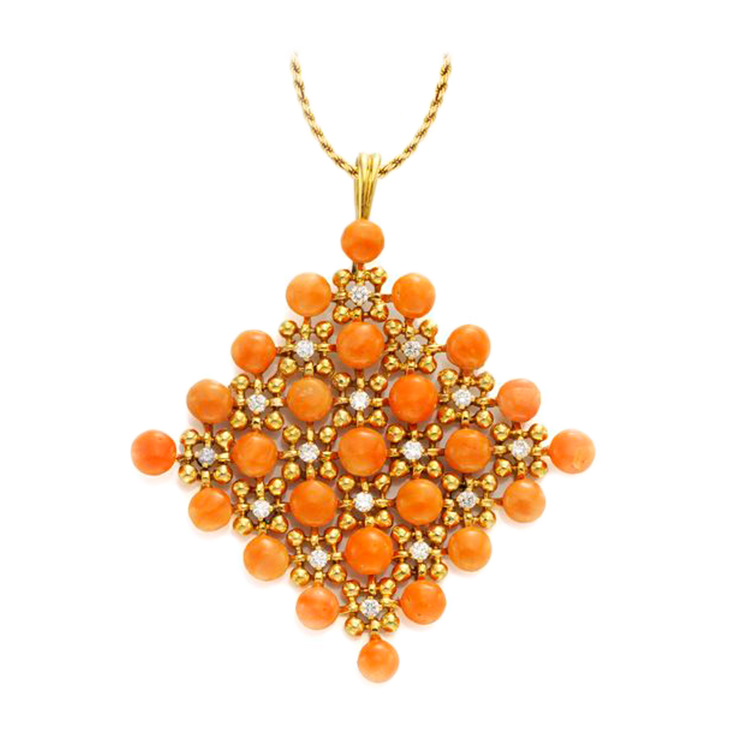 A Coral and Diamond Pendant, by Van Cleef & Arpels, circa 1970