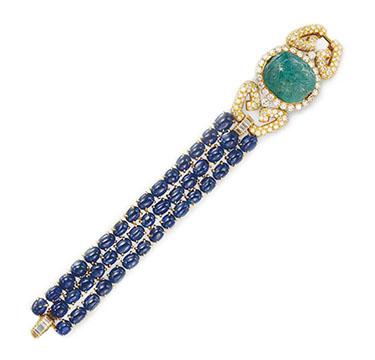 An Emerald, Sapphire and Diamond Bracelet, by Van Cleef & Arpels, circa 1975