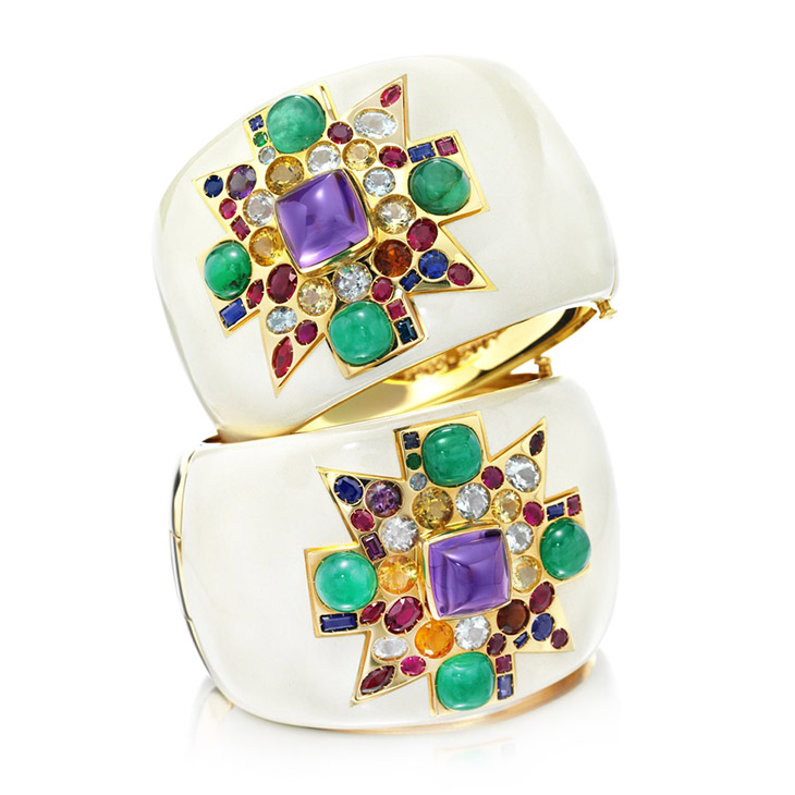 A Pair of Limited Edition Multi-gem and Enamel Cuffs, by Verdura