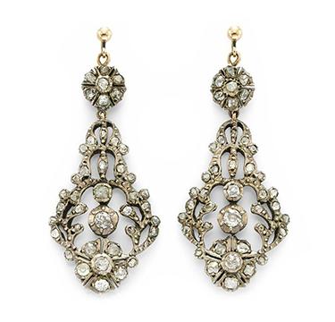A Pair of Diamond, Silver and Gold Ear Pendants, circa 1850