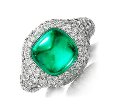 Cabochon Emerald and Diamond Ring