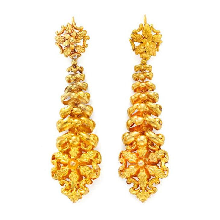 A Pair of Antique Gold Ear Pendants, 19th Century
