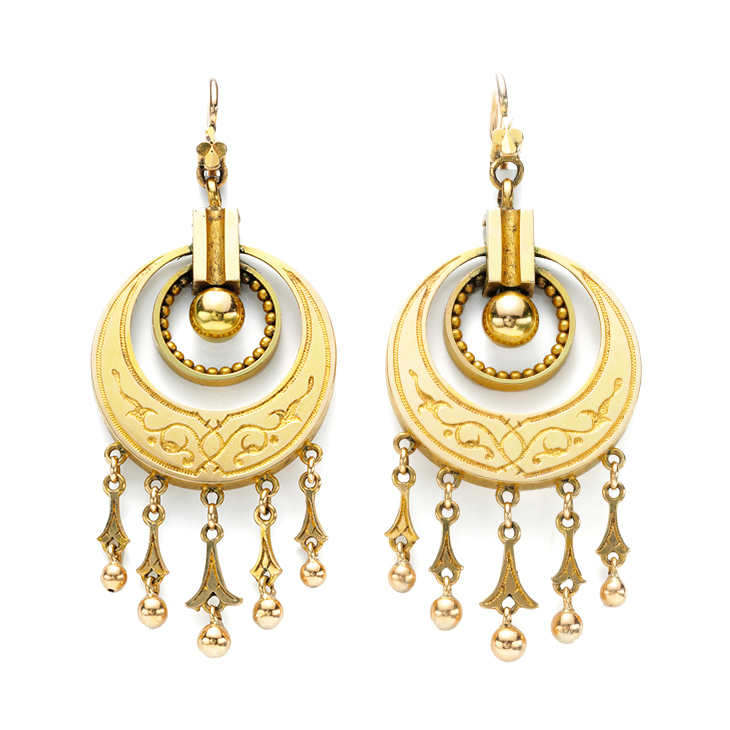 A Pair of Antique Gold Tassel Ear Pendants, 19th Century