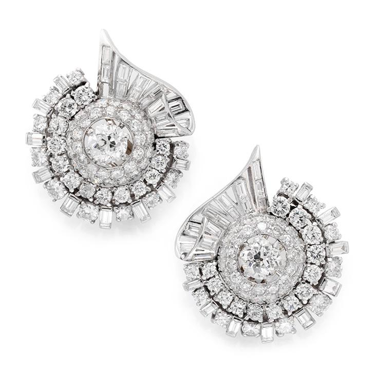 A Pair of Diamond and Platinum Ear Clips, circa 1950