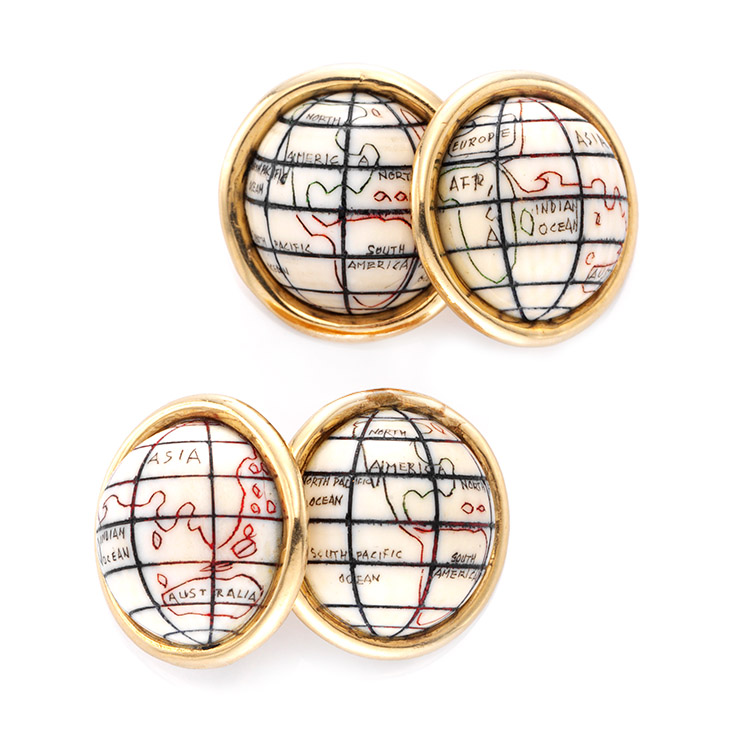 A Pair of Ivory and Gold Globe Cufflinks, by Cartier, circa 1960