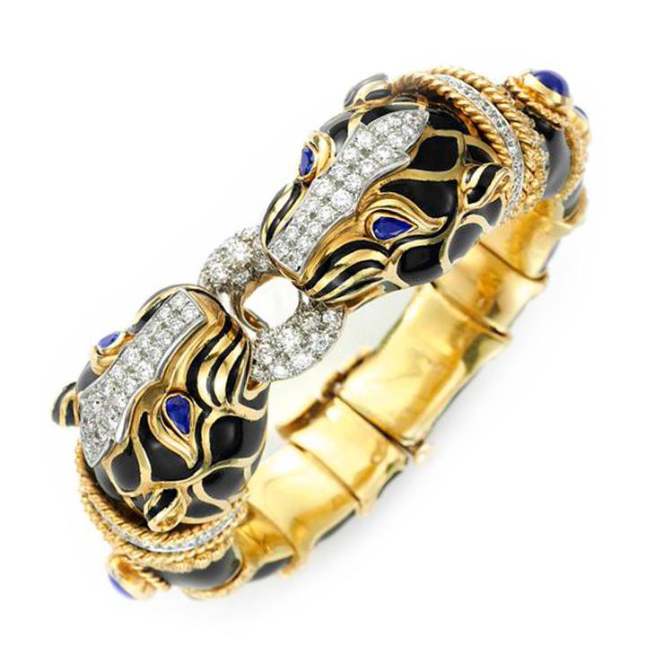 A Multi-gem, Diamond and Enamel Bracelet, by David Webb