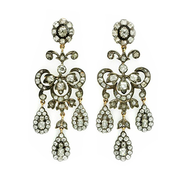 A Pair of Antique Old Mine-cut Diamond Girandole Ear Pendants, mounted in silver and gold, early 19th Century