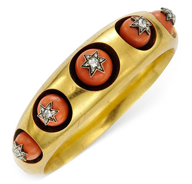 An Antique Coral, Diamond and Gold Bangle Bracelet, circa late 19th Century