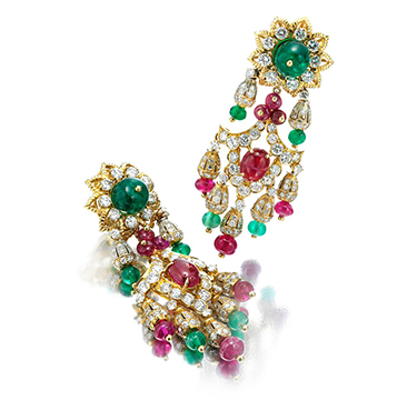 A Pair of Emerald, Ruby and Diamond Ear Pendants, by Van Cleef & Arpels, circa 1970