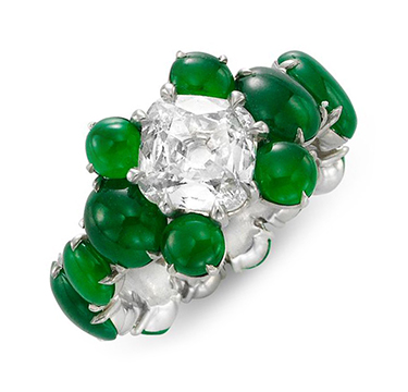 A Jadeite and Diamond Ring, centering on a cushion-cut diamond weighing 1.19 carats, by SABBA
