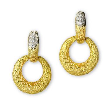 A Pair Gold and Diamond Hoop Ear Pendants, by Van Cleef & Arpels