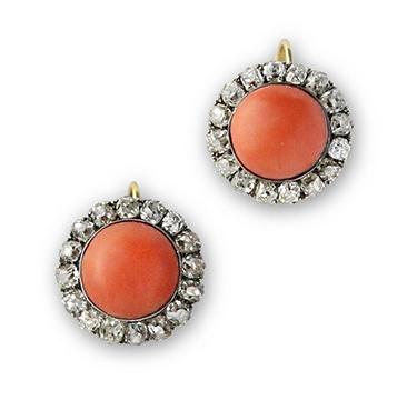 A Pair of Antique Coral and Diamond Earrings