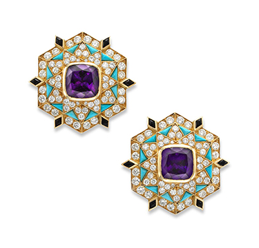 A Pair of Amethyst, Onyx, Turquoise and Diamond Ear Clips, by Bulgari, circa 1960