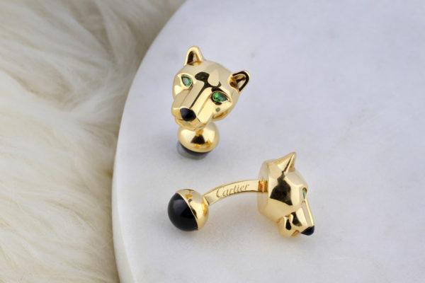 Cartier 'Panther' Emerald And Enamel Cufflinks