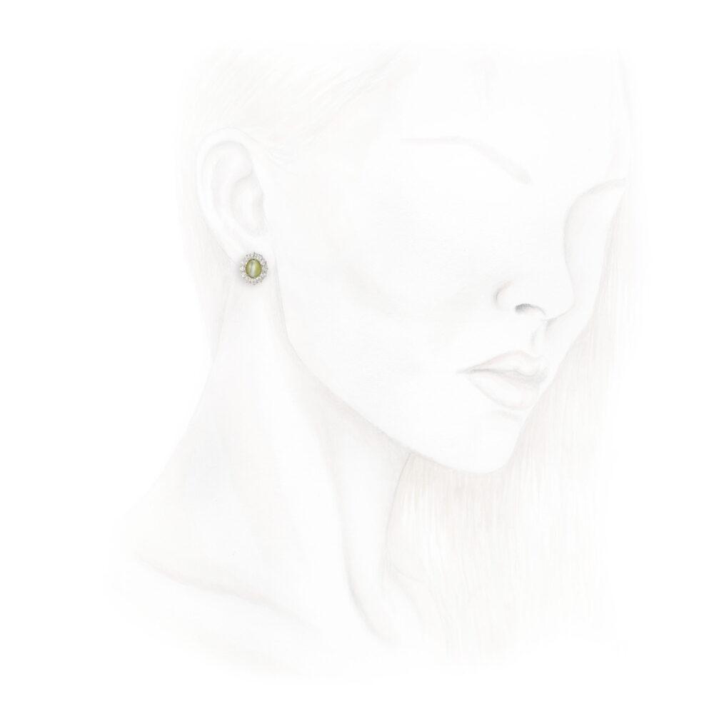 Cat's Eye Chrysoberyl and Diamond Earrings