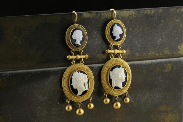 Antique Agate Cameo Ear Pendants