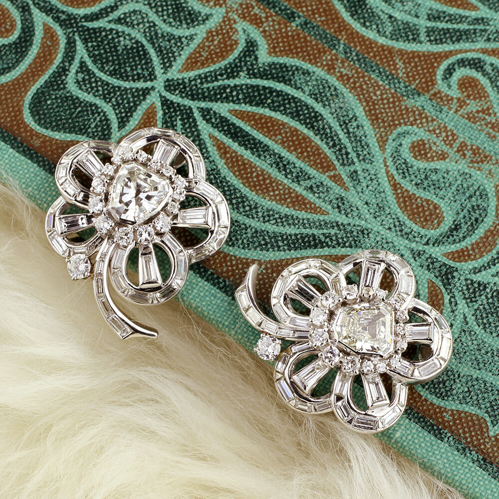 Diamond Set Floral Ear clips