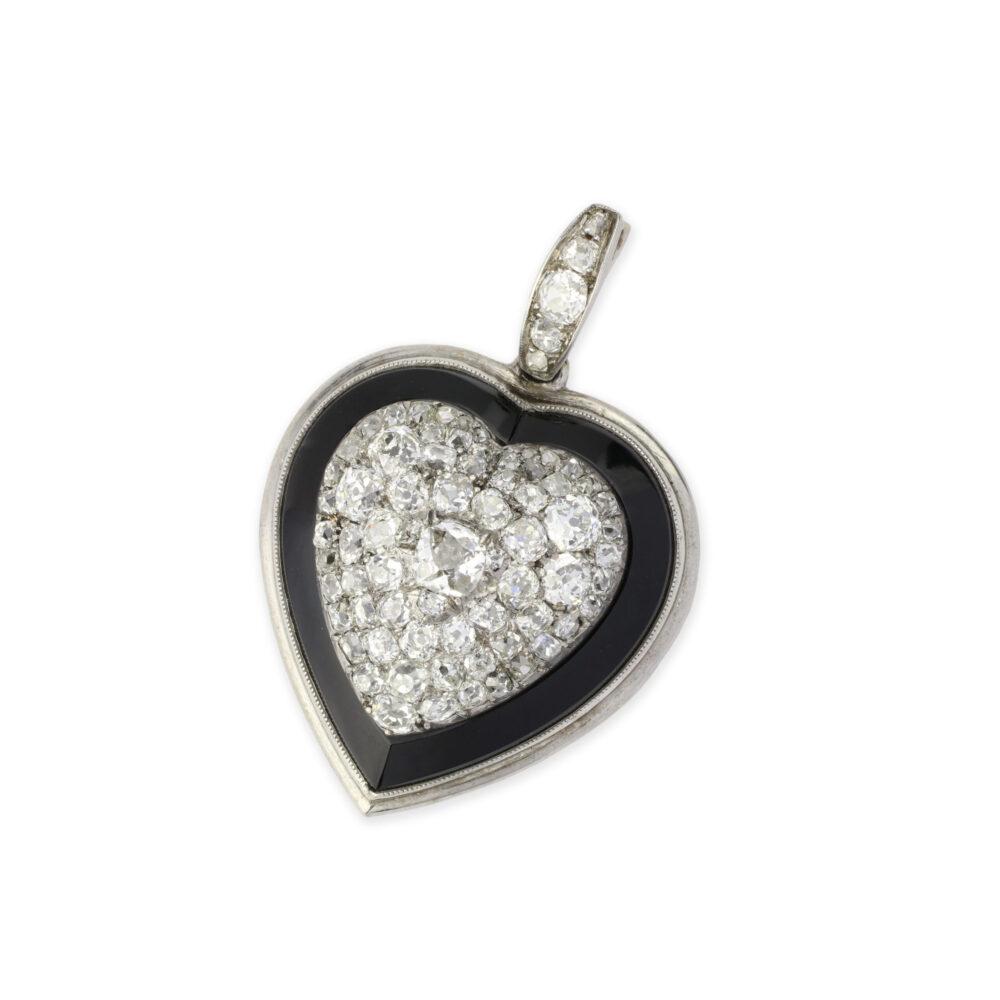Diamond, Onyx and Platinum Heart Pendant