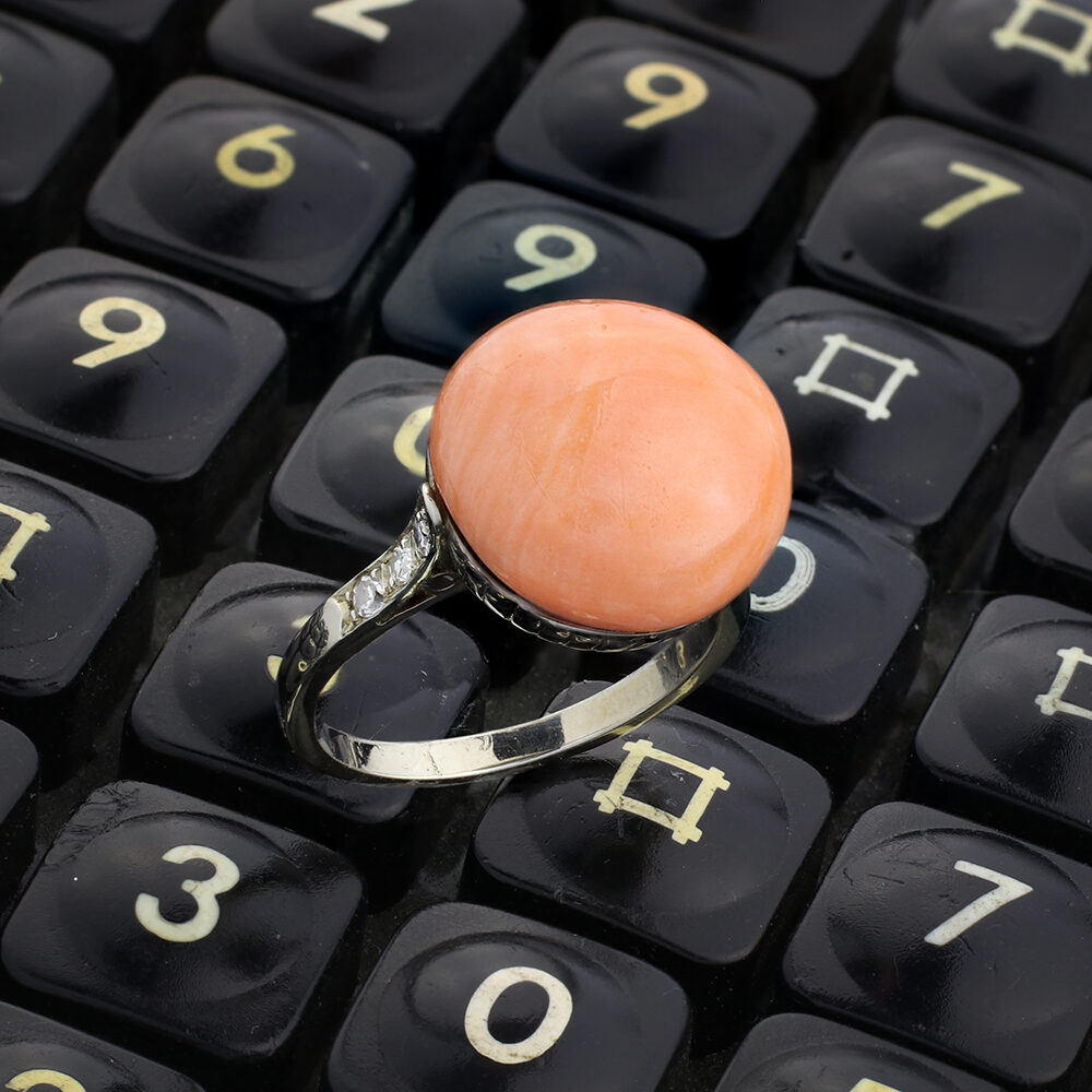 Coral and Diamond Ring