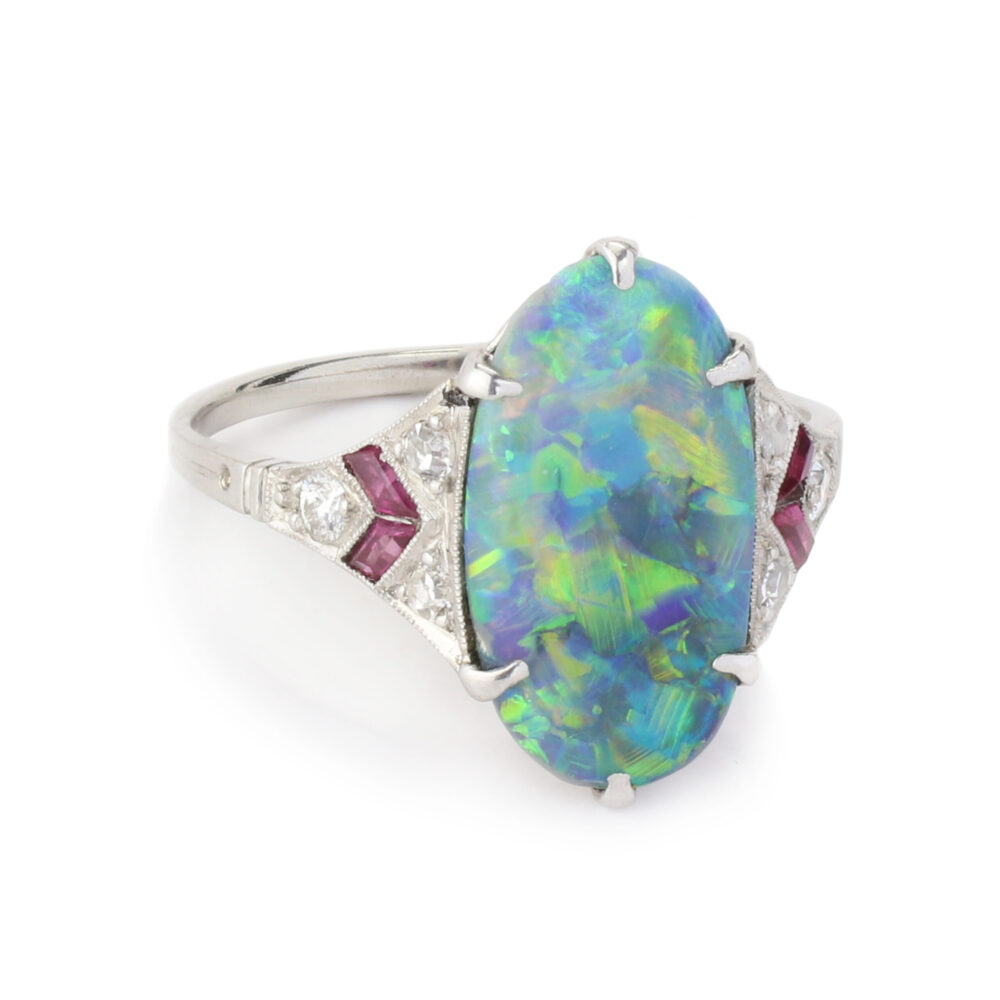 Art Deco Opal, Ruby and Diamond Ring