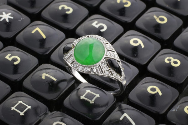 Art Deco Jade, Enamel And Diamond Ring
