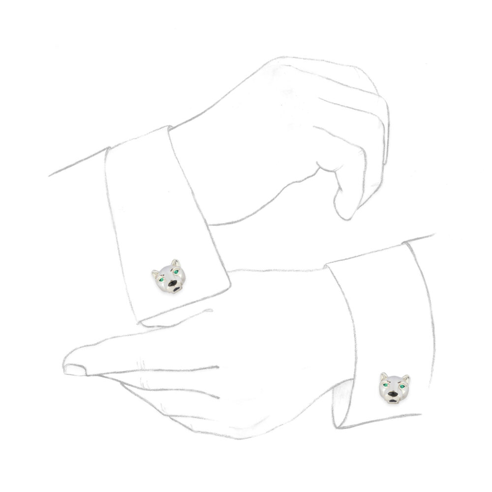 Cartier 'Panther' Emerald and Onyx Cufflinks