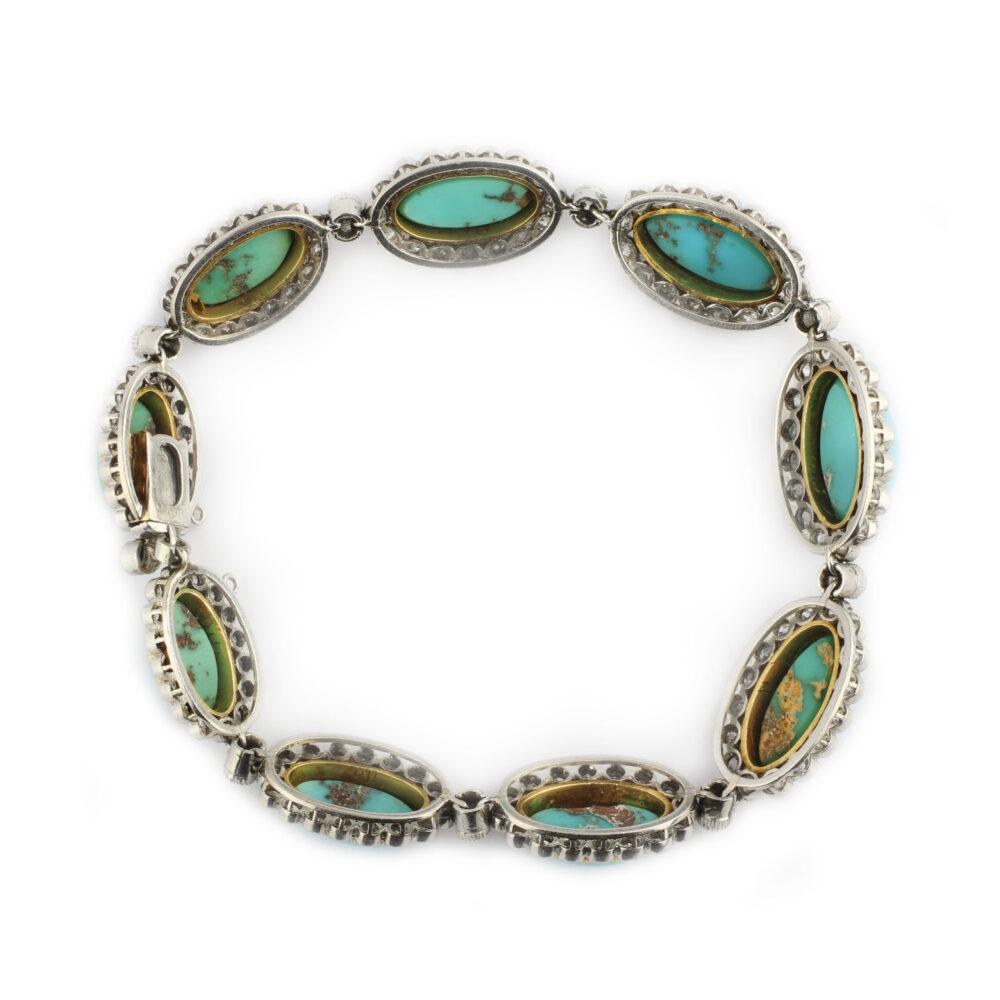 Edwardian Turquoise and Diamond Bracelet