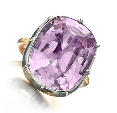 A Pink Topaz and Gold Ring, weighing 16.83 carats