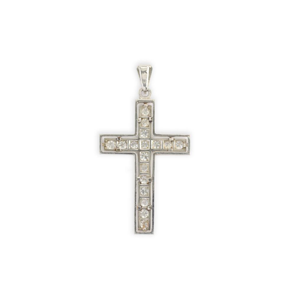 Diamond Set Platinum Cross Pendant