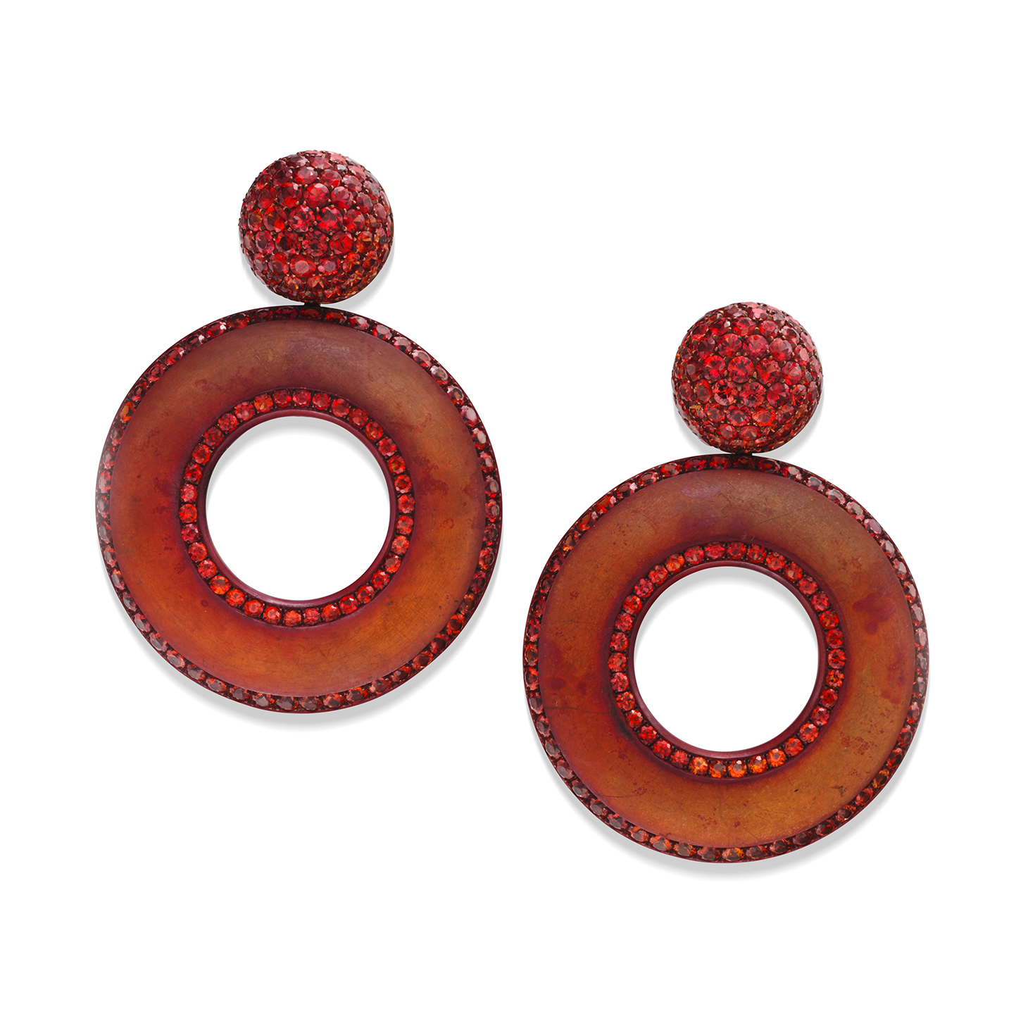 A Pair of Sapphire and Copper Ear Clips, by Hemmerle