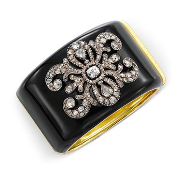 An Antique Diamond Plaque, set on a Gold and Enamel Cuff Bracelet