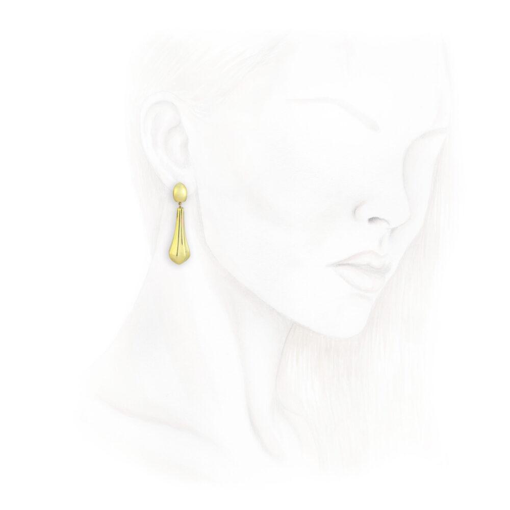 A Pair of Sculpted Gold Ear Pendants