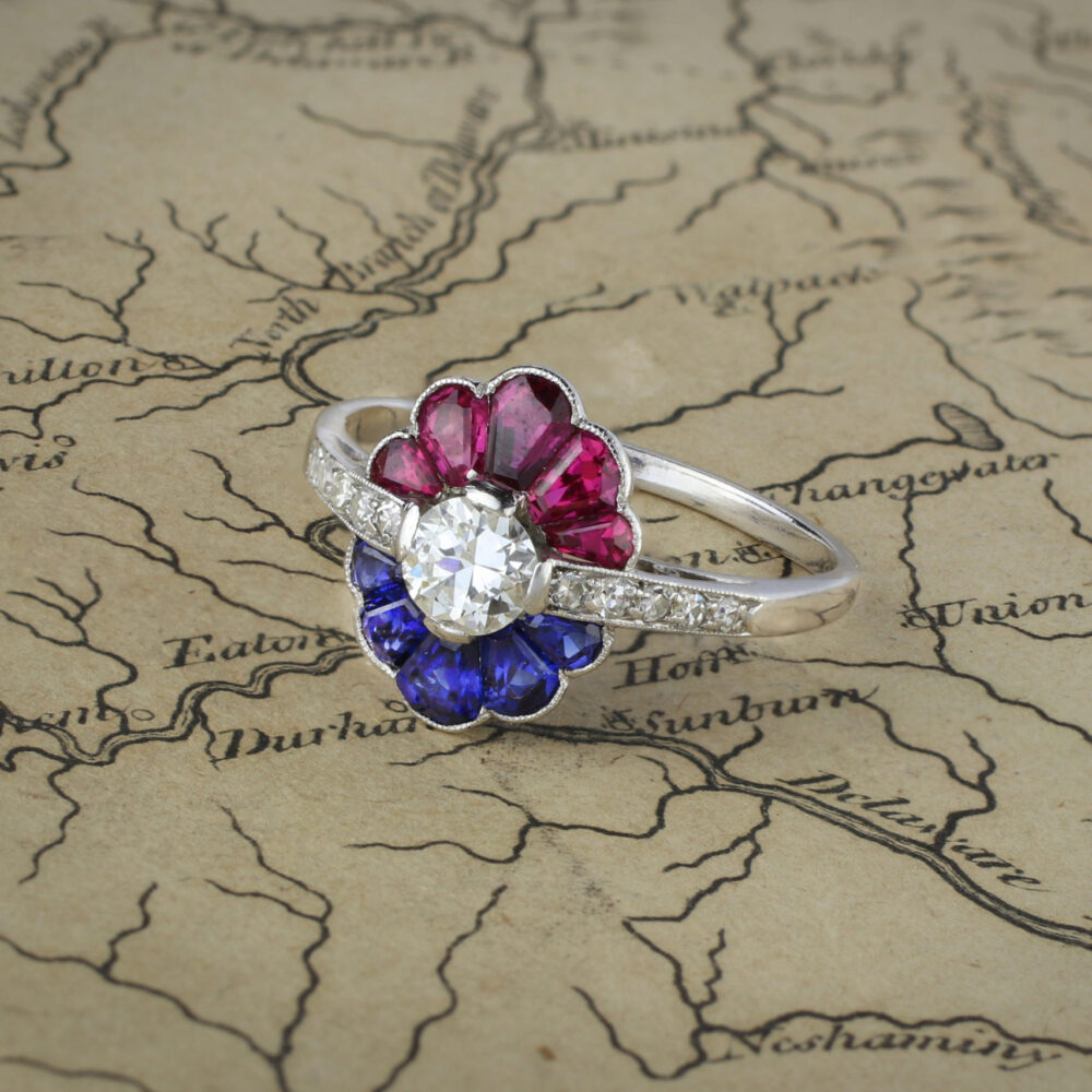 An Art Deco Diamond, Sapphire and Ruby Ring