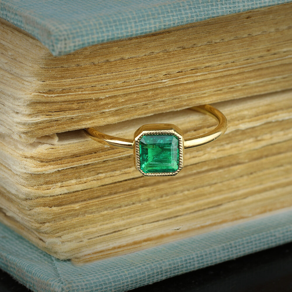 Cut Cornered Square Shaped Emerald and Gold Ring