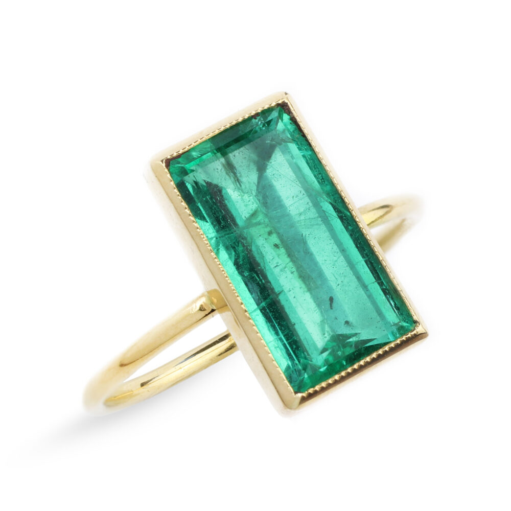 Rectangular Shaped Emerald and Gold Ring