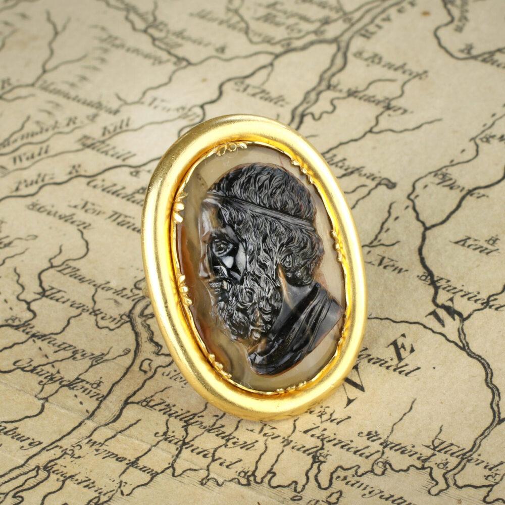 Antique Sardonyx Cameo and Gold Ring