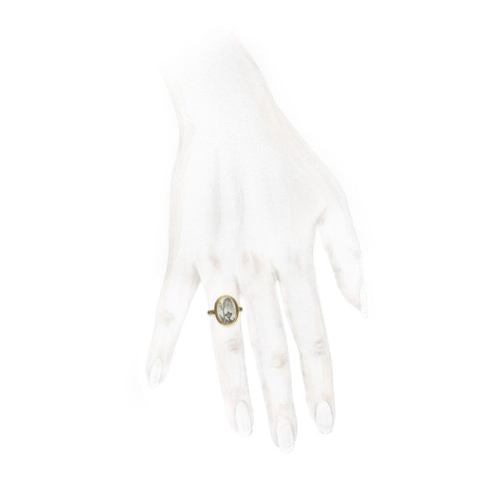 An Antique Memento Mori Enamel, Rock Crystal and Gold Ring