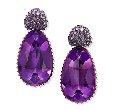 A Pair of Amethyst and Sapphire Ear Pendants, by Hemmerle