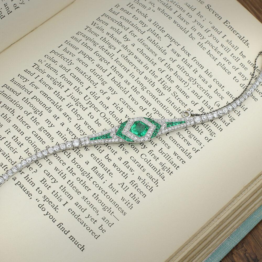 Art Deco Platinum, Emerald and Diamond Bracelet, By Georges Thibault