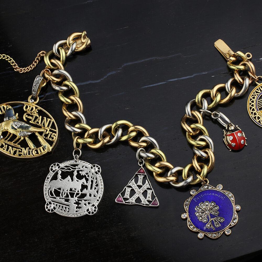 Tri-Color Gold and Diamond set Charm Bracelet