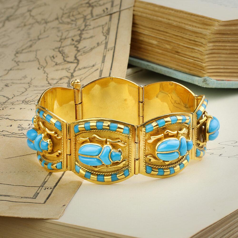 Egyptian Revival Glass and Gold Bracelet